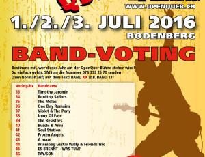 Band e-Voting @ OpenQuer Zell – das Voting läuft bis und mit 01.05.2016…